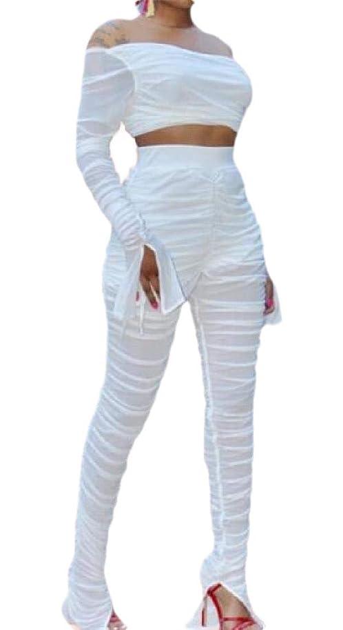 絡み合い平らな心配するWomen's Casual Mesh Long Sleeve Crop Top +Long Pants 2 Piece Outfits