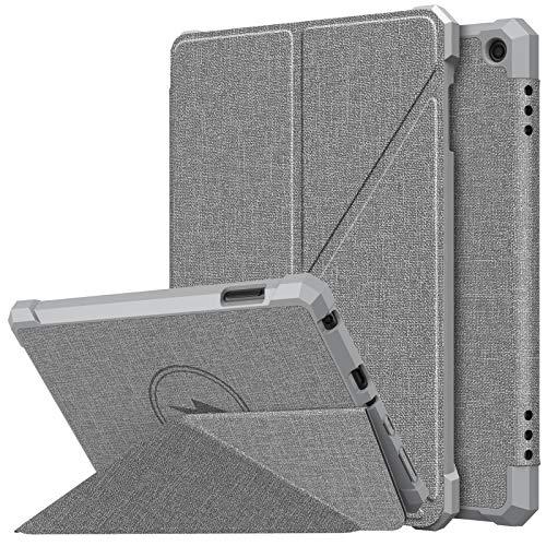MoKo Funda Compatible con All-New Kindle Fire HD 8/HD 8 Plus(10th Generation, 2020 Release), Protectora con Soporte Origami Múltiple Ángulos Visión Smart Case Cover con Carcasa Trasera TPU, Gris