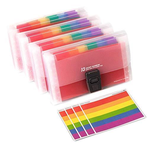 4Stück - Mini-Dokumenthüllen, A6,18cm x 11,3cm x 2,8cm, Hülle zum Erweitern in Regenbogenfarben, 13Hüllen-Organizer im Taschenformat, 12Etiketten