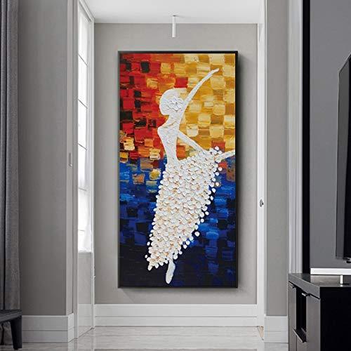 YuanMinglu Große Moderne Messer abstrakte ölgemälde Tanz mädchen leinwand Poster Wand Wohnzimmer Dekoration rahmenlose malerei 40x80 cm