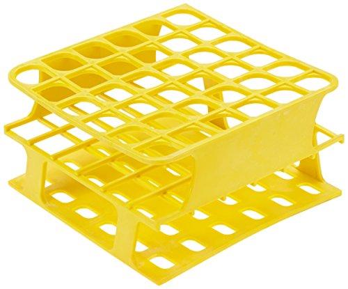 Heathrow Scientific HD120399 - Gradilla para tubos de ensayo (polioximetileno, longitud x anchura x altura: 127 mm x 127 mm x 70 mm, 16 mm), color amarillo