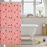 Loussiesd Mädchen Erdbeere Duschvorhang 180x180cm Kawaii Badezimmer Dekor für Badewanne Baby Mädchen Rosa Tropisch Frucht Duschvorhang Textil Süße Erdbeere Stoff Tochter