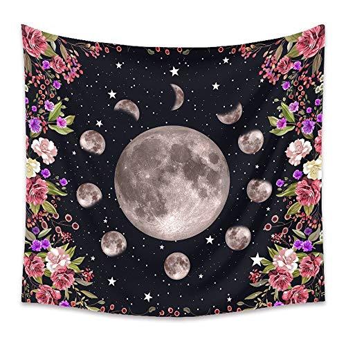 Tapiz de flores con cambio de luna psicodélico para colgar en la pared, alfombra de pared hippie, tela de picnic, tapiz bohemio, tela de fondo A2 73x95cm