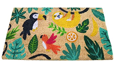 Felpudo de Coco Natural, felpudos Entrada casa, Alfombra Limpia Zapatos, Felpudo Exterior, Alfombra Entrada casa Interior, felpudos Originales y Divertidos, 40x70 (Selva)