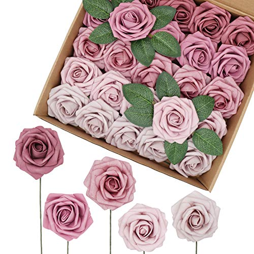 Medoliya Artificial Flowers 25PCS Real Looking Ombre Colors Foam Roses 5 Tones Fake Roses with Stems for DIY Wedding Bouquets Centerpieces Baby Shower Party Home Decorations (Shades of Mauve)