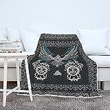 Manta para adultos y niños, diseño de águila vikinga, símbolo nórdico 3D, digital, manta de peluche, para camping, color blanco, 130 x 150 cm