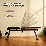 PERLECARE Weight Bench Adjustable, Sit Up Bench for Ab Bench Exercises, Flat Incline Decline Bench with 7 Adjustable Height Settings, Robust Weightlifting Bench Holds Weight up to 660 LBS for Home Gym