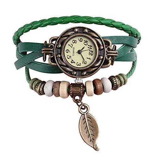 SSQY Multicolor Mujeres Cuero Genuino Vintage Cuarzo Vestido Reloj Relojes Relojes Hoja...