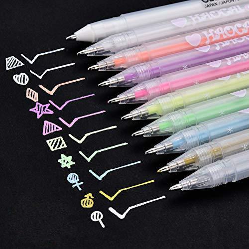 Neon Gelstift 10-teiliges Set, Kreidestifte Textilmarker 0.8mm Feiner Spitze leuchtende Farben für...