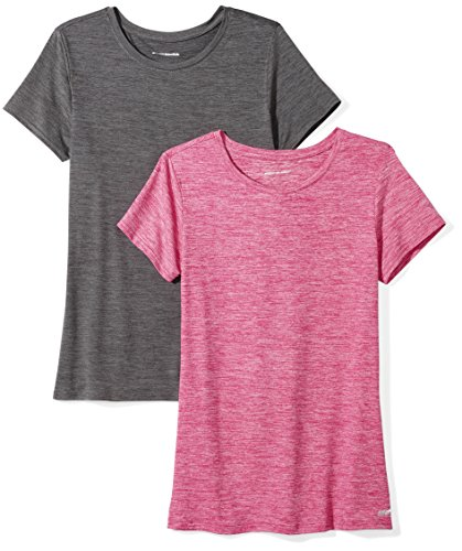 Amazon Essentials 2-Pack Tech Stretch Short-Sleeve Crew T-Shirt Athletic-Shirts, Charcoal Radiant Raspberry Heather, Large