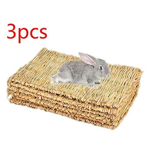 DULALA 3pcs Tapis de Lapin Tapis d'herbe pour Lapins mâchent des Jouets pour Lapins sûrs et comestibles Tapis de Lapin pour Cages Lapin