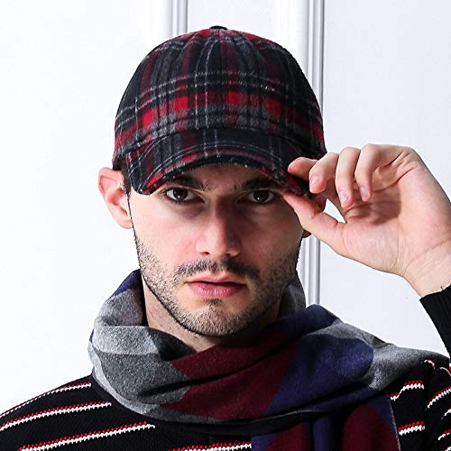 WAZHX Invierno Hombre Sombreros De Fieltro De Invierno Hombre Viejo Al Aire Libre Gorra De Lana Cálida Big Head Hombres Gorras De Béisbol De Talla Grande L (58-62Cm) Claret-Red