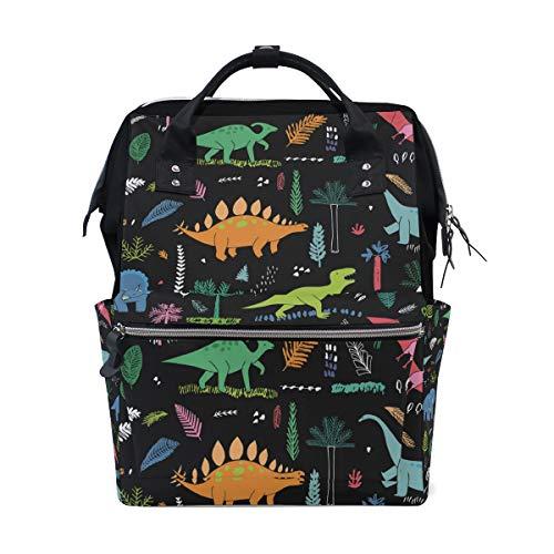 MERRYSUGAR Diaper Bag Backpack Travel Bag Large Multifunction Waterproof Dinosaur Black Leaf Stylish and Durable Nappy Bag for Baby Care School Backpack,Color-12,28x18x40cm