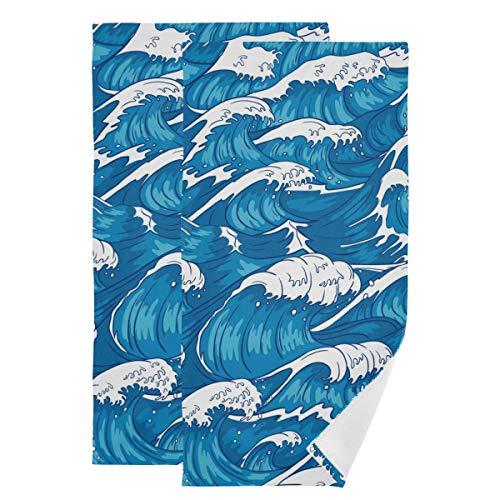 Toallas de mano decorativas para el cuarto de baño – Vintage Japanesenstorms toalla de invitados de algodón Juego de 2 paños absorbentes para gimnasio, deportes, hogar y spa