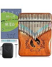 カリンバ 楽器 21キー 親指ピアノ kalimba 猫柄 日本語説明書 カタカナシール 楽譜付き C調 収納ケース付き 初心者向け