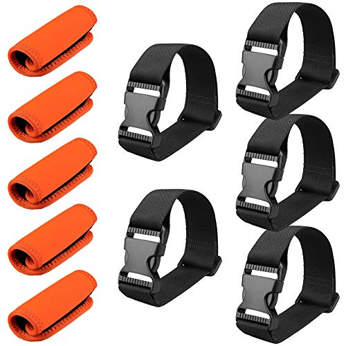 MAGARROW Add A Bag Straps with Neoprene Luggage Handle Wraps Grip for Travel Bag Suitcase 10-Pack