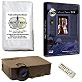 Kringle Bros Christmas Window Decoration Kit includes 800 x 480 resolution, 1900 lumen Projector, 60' x 40' Kringle Brothers Window Rear Projection Screen and Santa in the Window on DVD