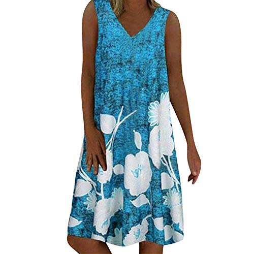 TWIFER Damen V-Ausschnitt Kleider Casual Sommerkleid Übergröße Hemdblusenkleid Tunika Hemd Kleid Minikleid Loses knielanges ärmellos Strandkleider
