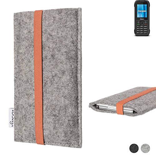 flat.design Handy Hülle Coimbra für Energizer H240S - Schutz Case Tasche Filz Made in Germany hellgrau orange