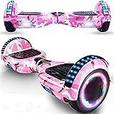 Magic Way Hoverboard - 6.5' - Bluetooth - Motor 700 W - Velocidad 15 km/h - LED - Patinete Eléctrico Auto-Equilibrio - para niños y Adultos (Camuflaje Rosa)