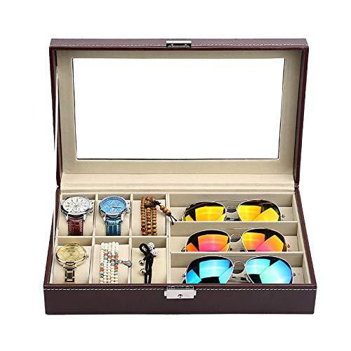 FIONAT Caja para Relojes Cajas para Joyas Hombre Mujer Regalo Viaje Cuero Artificial colección Gafas Expositor Caja de Almacenamiento 30 * 20.5 * 8cm, 6 + 3 marrón
