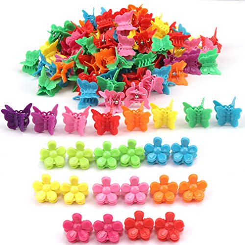 200 Packs Butterfly Hair Clips, Chanaco Mini Butterfly Hair Clips Plastic Hair Claw Clips Jaw Barrettes Grip Clamps Pins Hair Accessories for Girls and Women Assorted Colors