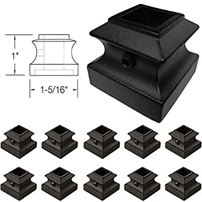 """Stair Iron Baluster Flat Shoe (10-Pack) with Set Screw Stair Parts for 1/2"""" Square Stair Railing Metal Scroll Basket Twist Knuckle Spindle Shoes (Satin Black)"""
