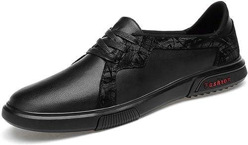 XIANGBAO-Personality Mode Décontracté Robe en Dentelle Mocassins Plats Léger paniers Mode Deux Tons Anti Slip Bout Rond en Cuir Véritable Oxford Chaussures (Couleur   Noir, Taille   43 EU)