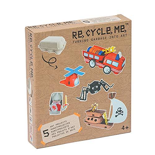 Re Cycle Me DEFG1020 Recycling Bastelspaß für 5 Modelle, Bastelset für 5 Kunstprojekte, Kreativset für Kinder ab 4 Jahre, Set zum Basteln mit Haushaltsmaterialien, Recycle Mich, Bastelmix