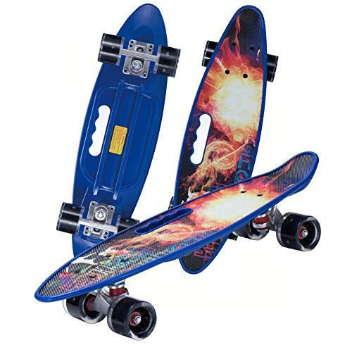 Mini Cruiser Retro Skateboard Komplettboard für Kinder Jugendliche mit LED Leuchtrollen und Tools für Anfänger
