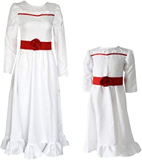 STARFUN Adult and Kids Halloween Annabelle Horror Scary Dress Cosplay Costume White Long Dress