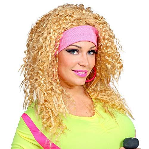 Amakando Gelockte Frauen-Perücke mit Haarband im Achtziger Look / Blond-Rosa / Tolle Lockenkopf-Faschingsperücke Fitness / Wie geschaffen zu 80er-Party & Fasching