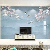 カスタム3D壁紙中国風マグノリア手描きの花鳥の背景壁画壁画リビングルーム-350x250cm