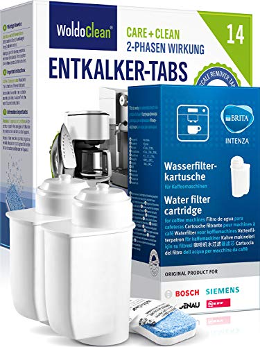 Juego de filtros de agua y pastillas descalcificadoras para cafeteras automáticas, 2 filtros Brita TZ70003 y 12 pastillas...