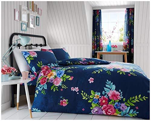 GoldStar Alice Floral Printed Quilt Cover Bed Linen Duvet Cover Bedding Set (Double, Alice Navy)