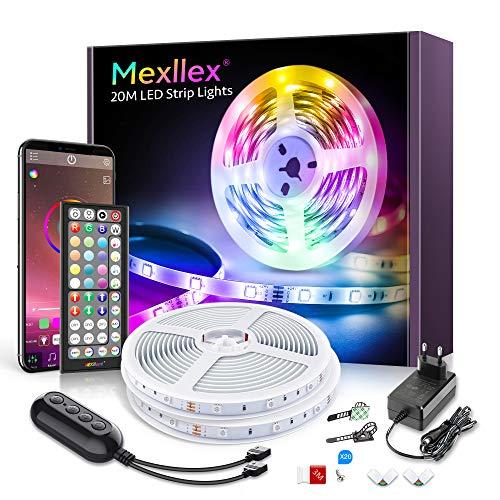led strip 20m, RGB LED Streifen Musiksynchronisation Farbwechsel 44 Tasten Fernbedienung, empfindliches eingebautes Mikrofon, von der Anwendung gesteuerte LED litchband, 5050 RGB LED Leuchtstreifen