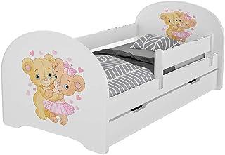 MEBLEX Lit pour enfant avec tiroirs et matelas en mousse de sécurité 160 x 80 cm pour chambre à coucher avec cadre de lit ...
