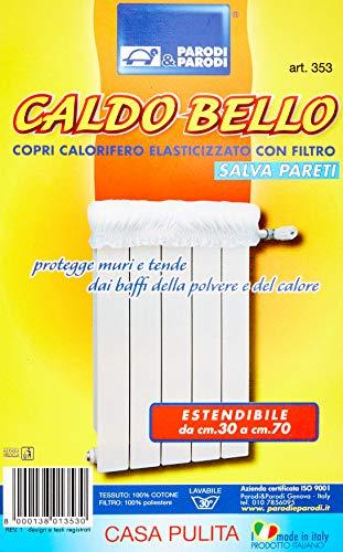 Parodi&Parodi, caldo bello, art. 353, copricalorifero elastico imbottito estensibile fino a 70 cm, copertura per termosifone universabile, salvaguarda i muri e le tende dalla polvere, colore avorio