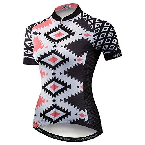 Weimostar Radfahren Jersey Frauen Mountainbike Jersey Shirts Kurzarm Rennrad Kleidung aus Tür Sport MTB Kleidung Sommer tragen Würfel Pink Größe M