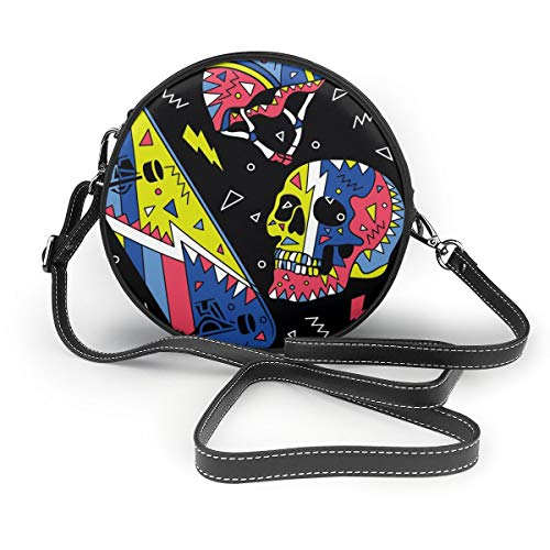 JOJOSHOP Skateboard mit Totenkopf-Muster, kleine Umhängetasche für Damen, Leder
