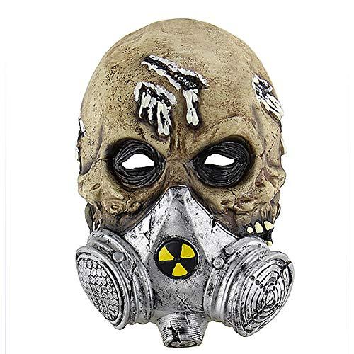 DengDD Horror Mask Mascarilla Latex Bioquímico Cráneo Headgear Headwear Cosplay Party Película Props Mascarerade Theme Fiesta Festival Carnaval