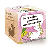 FeelGreen Grow Your Own Unicorn Bean Wooden Cube with Laser Engraving Keep Calm, You Have Unicorn Power,...