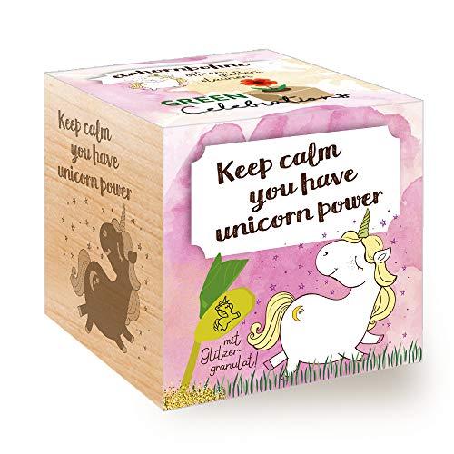 Feel Green Grow Your Own Einhornbohne, Holzwürfel Mit Lasergravur «Keep Calm, You Have Unicorn Power», Nachhaltige Geschenkidee, Anzuchtset, Ecocube, Made in Austria