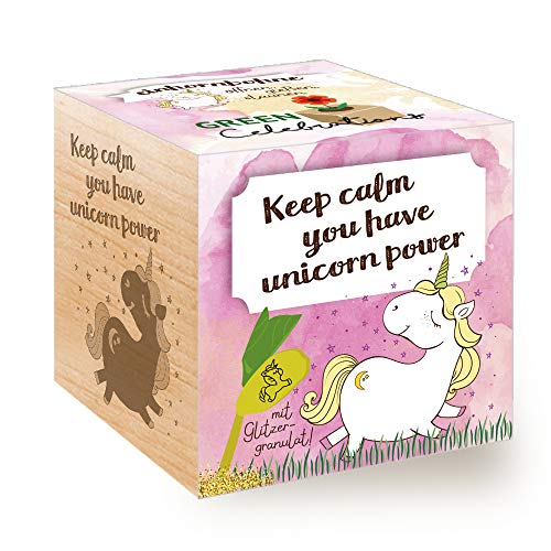 Feel Green Grow Your Own Einhornbohne, Holzwürfel Mit Lasergravur «Keep Calm, You Have Unicorn Power», Nachhaltige Geschenkidee, Anzuchtset, Ecocube, Made in Austria