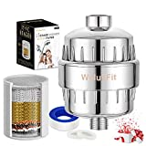 Filtro de agua de ducha – Filtro de ducha de agua de 15 etapas con filtro de vitamina C universal que elimina el cloro y...