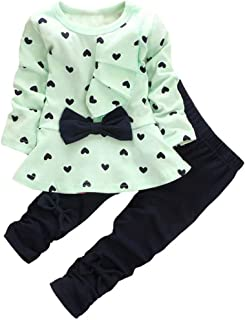 Little Girl's Cute Heart Pattern 2 Pieces Outfit
