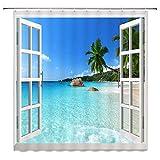 NJMRZX Tropischer Ozean mit Fensterdekor Duschvorhang Strandlandschaft Grüne Palme Meerwasser Blauer Himmel Stoff Badvorhänge 72x72 Zoll Wasserdichtes Polyester mit Haken