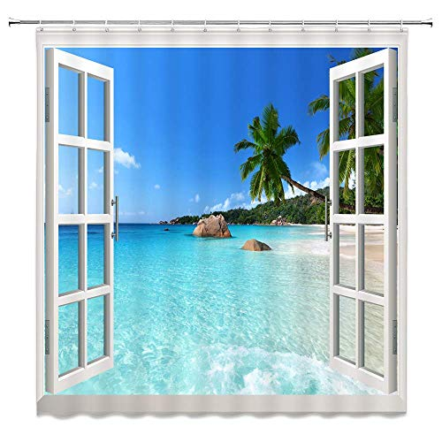 NJMRZX Tropical Ocean with Window Decor Shower Curtain Beach Scenery Green Palm Tree Sea Water Blue Sky Fabric Bathroom Curtains 72x72 Inches Waterproof Polyester with Hooks