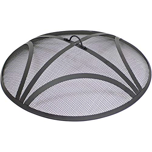 Sunnydaze Reinforced Steel Mesh Spark Screen - Outdoor Heavy-Duty Round Fire Screen with Ring Handle - Durable Black Metal Mesh Design - Patio Fire Pit Accessory - 30-Inch Diameter