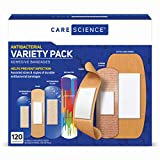 Care Science Antibacterial Adhesive Bandages Variety Pack, 120 CT | Including Fabric, Durable, Assorted Sizes, Clear, Decorative, Waterproof Bandages. Helps Prevent Infections